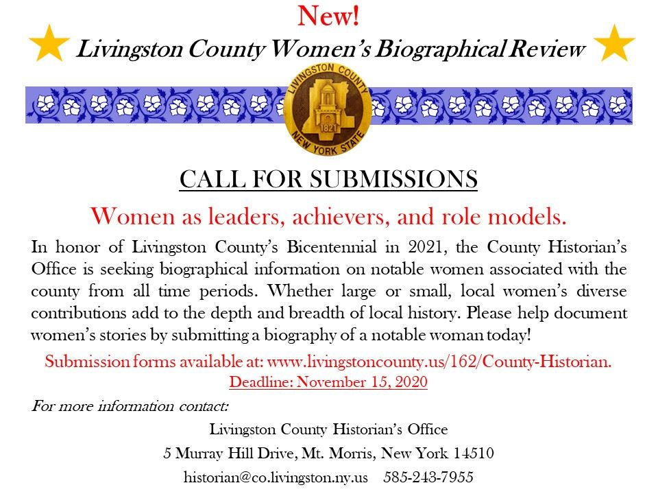 Livingston County Womens Biographical Review PR flyer