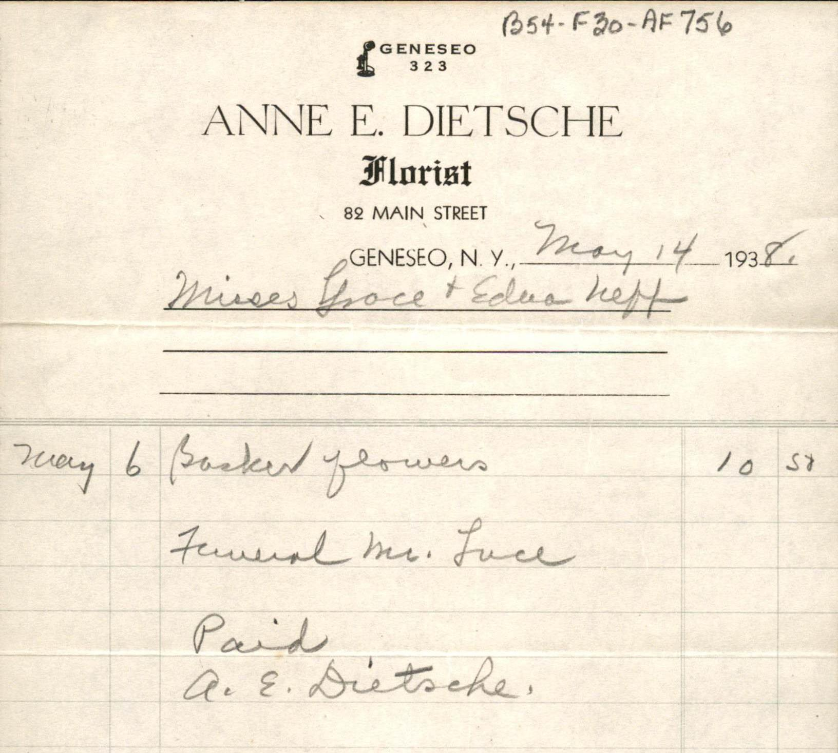 Receipt for Ann Dietsche, florist