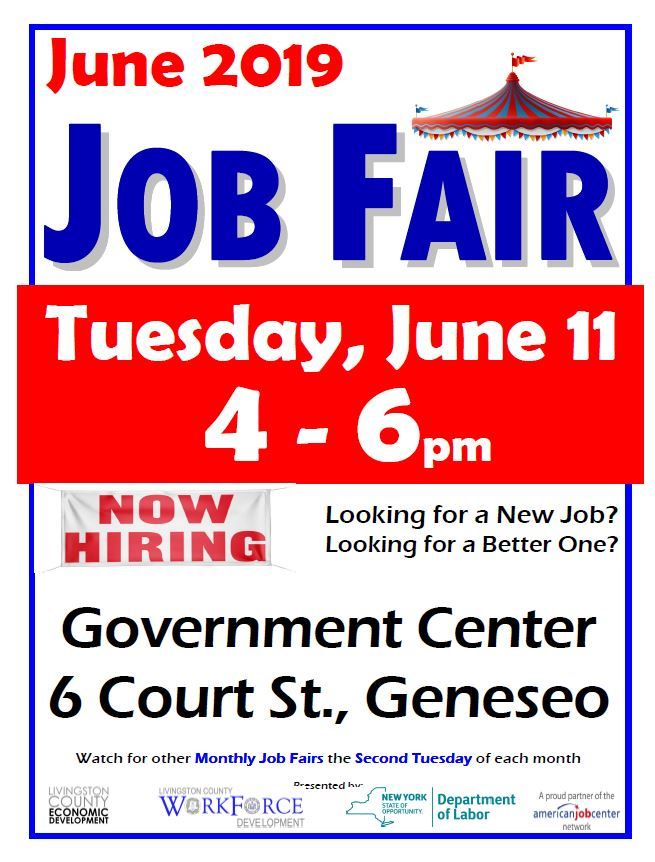 June 11 Job Fair 2019, 4-6 pm, 6 copurt street, geneseo NY