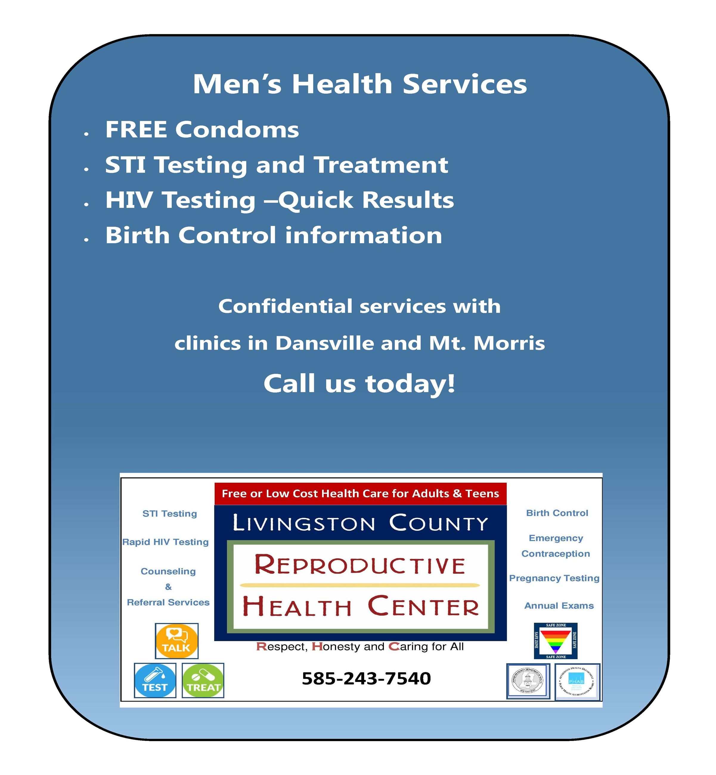 A flyer with a list of services for males