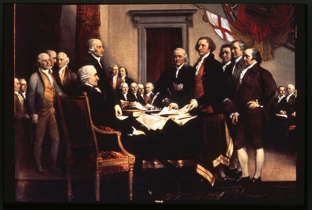 Trumball painting of the signing of the Declaration of Independence